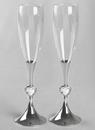 Ivy Lane Design Silver Stem w/Crystal Hearts Toasting Flutes