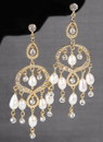 Ivy Lane Design Rhinestone & Pearl Chandelier Earrings