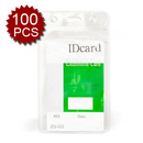 Officeship 100Pcs Badge Holders, Vertical, 2-3/8 x 4-3/8 Clear Business ID Badge Card Holder