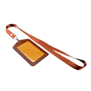 Officeship Faux Leather Card Protection Holder with Nylon Lanyard, Vertical, 2-1/4