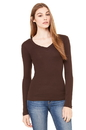 Bella+Canvas 8750 Women's Sheer Mini Rib Long Sleeve V-Neck Tee