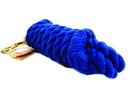 Hamilton Cotton Rope Lead With Brass Bolt Snap - Blue - 10 Foot