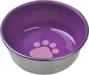 Van Ness Plastic Molding Ss Non-Skid Cat Dish W/ Decorated Enamel Interior