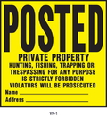 Hy-Ko Posted Private Property  Property Sign - Yellow/Black - 11 X 11 Inch