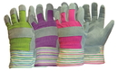 Boss Ladies Split Leather Palm Glove W/Striped Top Cuff - Assorted - One Size