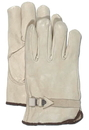 Boss Quality Grade Grain Cowhide Leather Driver Glove - Gray - Large