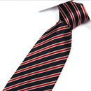 TOPTIE Men's Black Stripe Woven Tie 3.2