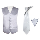 TopTie Men's 3-Piece Satin Vest Necktie Pocket Square Set For Suit Or Tuxedo