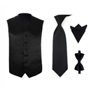 TopTie Men's 4 Pcs Formal Vest, Bowtie, Neck tie, Pocket Square Set