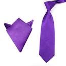 TopTie Men's Fashion Polyester Necktie & Pocket Square Hanky 2pcs Set For Gifts