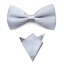 TopTie Tuxedo Adjustable Neck Bowtie & Handkerchief For Men, Solid Color