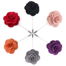 TopTie Lapel Flower Pin Rose for Wedding Boutonniere Stick (Set of 6)