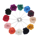 Wholesale TopTie Flower Lapel Pin Rose for Wedding, 12 Pcs Assorted Color