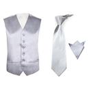 TopTie Men's 3-Piece Formal Vest Necktie Pocket Square Set
