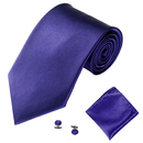 TOPTIE Men's Necktie Pocket Square Cufflinks Set, Classic Solid Color Tie Set