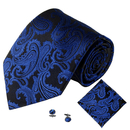 TOPTIE Men's Floral Paisley Necktie Handkerchief Cufflinks Set, Jacquard Weave