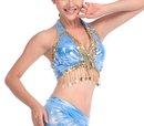 BellyLady Belly Dance Gold Coin Halter Wrap Bra Top