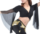 BellyLady Belly Dance Tribal Costume Wrap Top, Black