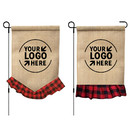 10 Pcs Personalized DIY Garden Flags with Plaid Ruffle, Burlap Lawn Yard Banners, 12