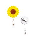 GOGO Sunflower Retractable Badge Holder Reel Clip, Alligator Clip, Decoration and Gift for Women