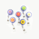 Muka 20 Pack Resin Flower Retractable Badge Holder Reel Clip, Alligator Clip, Decoration and Gift for Women