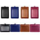 Muka 10 Pcs PU Leather Badge Holders, Vertical Horizontal ID Badge Holder with 1 Clear ID Window and 1 Credit Card Slot