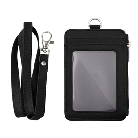 ID Window Leather Card Holder Card Case Badge Wallet Neck Strap Lanyard for Work