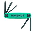 Bondhus Set 5 Utility GorillaGrip Fold-up Tools PH#1, #2, SL 3/16 Slotted, SQ #1, #2