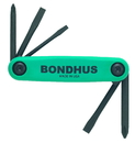 Bondhus Set 5 Utility GorillaGrip Fold-up Tools PH#1, #2, SL1/8, 3/16, 1/4