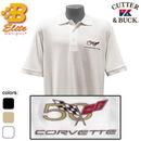 Belite Designs Belite Designs C5 50th Anniversary Embroidered Men's Cutter & Buck Ace Polo Black- Small -BD50EP137