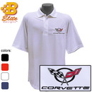 Belite Designs C5 Corvette Embroidered Men's Performance Polo Shirt Ceramic Blue- XXX Large -BDC5EP107