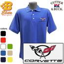 Belite Designs Belite Designs C5 Corvette Embroidered Men's Cutter & Buck Ace Polo White- Small -BDC5EP8019