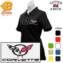 Belite Designs Belite Designs C5 Corvette Embroidered Ladies Cutter & Buck Ace Polo Black- Small -BDC5EPL830