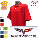 Belite Designs Belite Designs C6 Corvette Embroidered Men's Cutter & Buck Ace Polo Navy- Small -