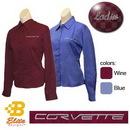 Belite Designs Belite Designs C6 Corvette Script Ladies Long Sleeve Corvette Dress Shirt Wine- XXX Large -BDC6ESL913