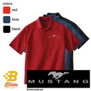 Belite Designs Ford Mustang Embroid.Emblem w/Script Men's Performance Polo Classic Red- Small -BDFMEP105