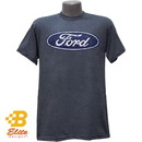 Belite Designs Ford Oval Distressed Logo T-Shirt DENIM HEATHER- XX LARGE -BDFMST150