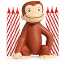 UNIQUE INDUSTRIES 137884 Curious George Cake Decoration with 6 Candles