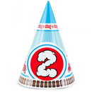 Party Destination Two-Two Train 2nd Birthday Cone Hats