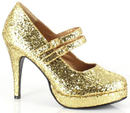 Ellie Shoes 421-Jane-GGG8 Gold Glitter Jane Adult Shoes