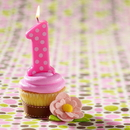 Bakery Crafts C-1510 Pink 1st Birthday Polka Dot Candle