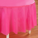 Creative Converting 192620 Candy Pink (Hot Pink) Round Plastic Tablecover
