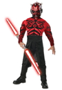 Rubies 216223 Stars Wars Deluxe Muscle Chest Darth Maul Child Costume, Large (12-14)
