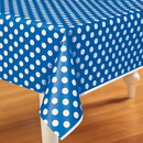 Unique 237933 Blue and White Dots Plastic Tablecover