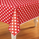 Unique 237978 Red and White Dots Plastic Tablecover