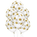 Unique 258700 White and Gold Dots Latex Balloons