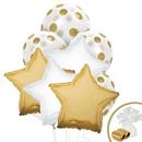 104155 Gold & White Balloon Bouquet