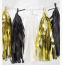Tissue Garland - Black, White, Gold