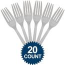 Amscan 265847 Silver Plastic Forks (20 Pack)