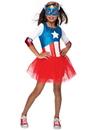 Rubies 273760 American Dream Metallic Captain America Girls Child Costume L